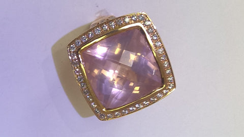 18kt Rose Gold Pink Quartz and Diamond Ring