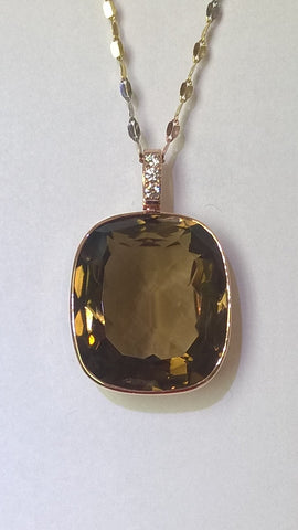 14kt Rose Gold Smoky Topaz and Diamond Pendant