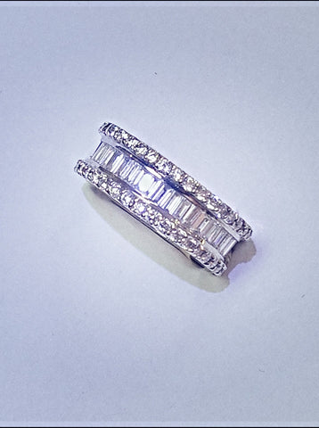 18kt white gold diamond eternity ring.