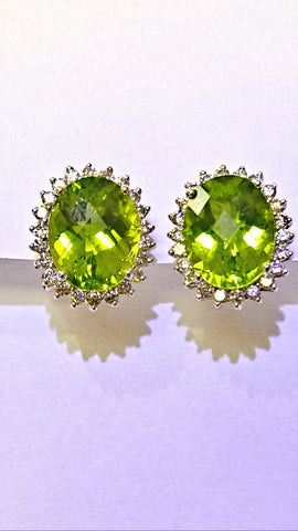 14 White Gold Peridot and Diamond Earrings.