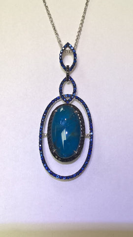 Sliced Sapphire and Black Diamond Pendant