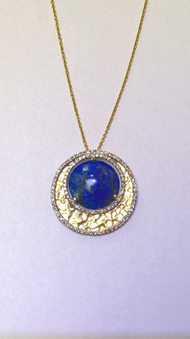 14kt yellow gold Lapis and Diamond Crescent Moon Pendant