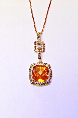 14kt Rose Gold Madiera Citrine and Diamond Pendant.