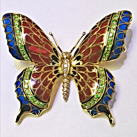 18kt yellow gold hand made Emerald, Diamond and Enamel Butterfly.
