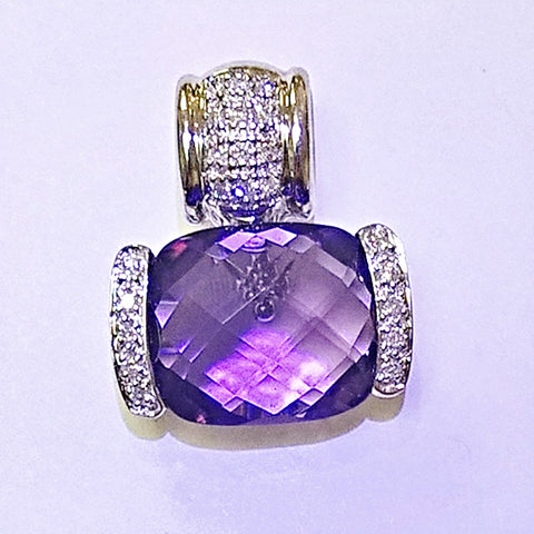 14kt White Gold Amethyst and Diamond Enhancer