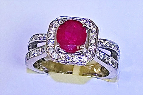 14kt white gold ruby and diamond ring.
