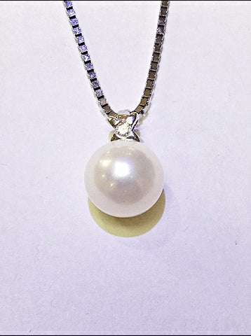 14kt White Gold Pearl and Diamond Necklace
