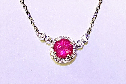 18kt White Gold Ruby and Diamond Pendant