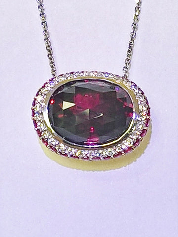 18kt White Gold Rhodolite Garnet and Diamond Pendant