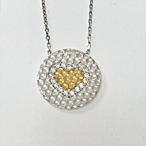 Sterling silver and cubic zirconia heart pendant.