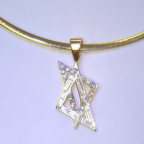 14kt Two Toned  Contemporary Diamond Jewish Star of David.