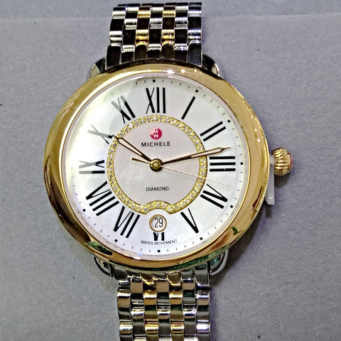 Michele Watch Serein 16 Two-Tone, Diamond Dial Watch