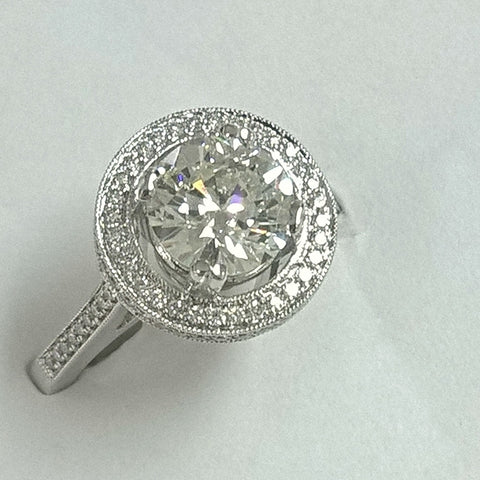 18kt white gold two toned diamond engagement ring.