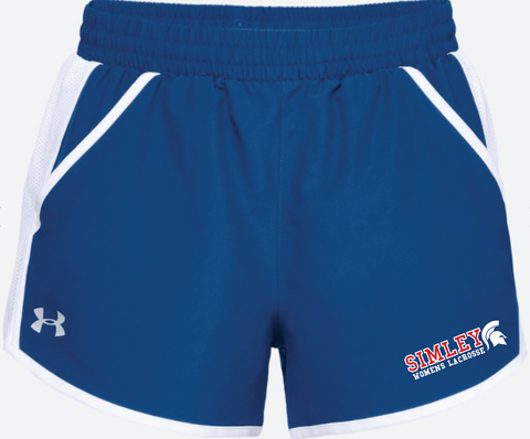 SIMLEY WOMENS LACROSSE UNDER ARMOUR TEAM FLY SHORT-ROYAL