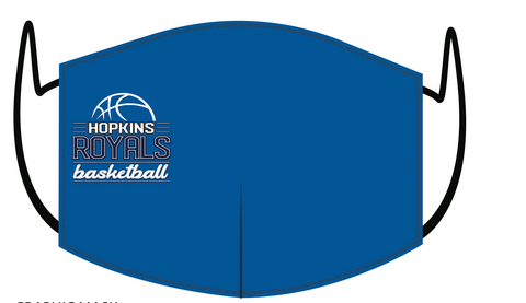 Hopkins Basketball FUNDRAISER Face Mask - Royal - Ball Logo