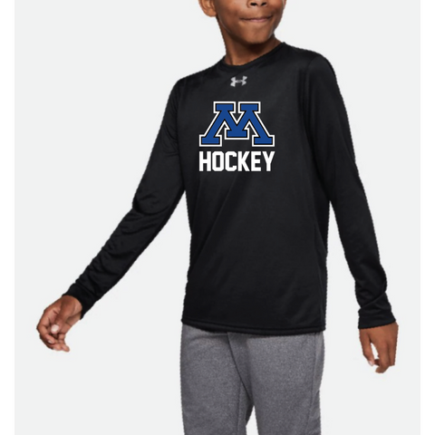 Minnetonka Hockey Youth Under Armour Locker Tee Long Sleeve Black
