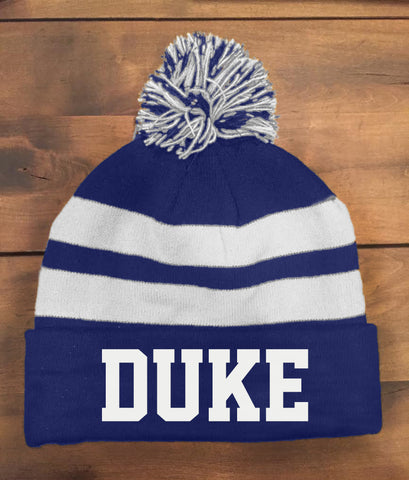 Duke Lacrosse The Game (Knit Beanie With Pom) Royal & White
