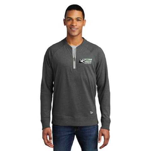 Cottage Grove Lacrosse Men's New Era (Sueded Cotton Blend 1/4-Zip Pullover) Gray