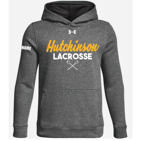 Hutchinson Lacrosse Youth Under Armour (Hustle Fleece Hoody) Gray