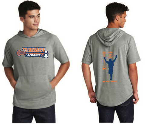 Tribesmen Lacrosse Adult Sport-Tek (Tri-Blend Wicking Short Sleeve Hoodie) - Light Grey Heather