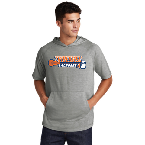 Tribesmen Lacrosse Adult Sport-Tek (Tri-Blend Wicking Short Sleeve Hoodie) Light Grey Heather