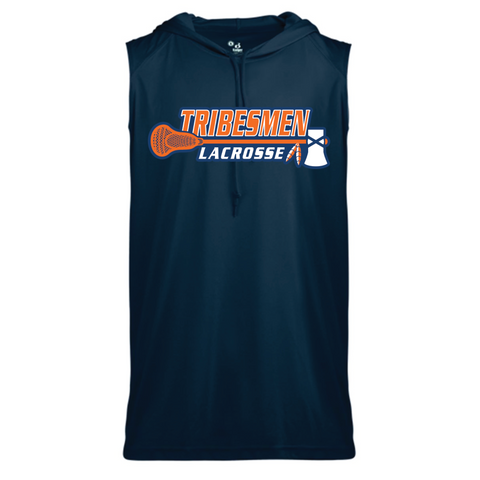 Tribesmen Lacrosse Adult Badger (Core Sleeveless Hooded T-Shirt) Navy