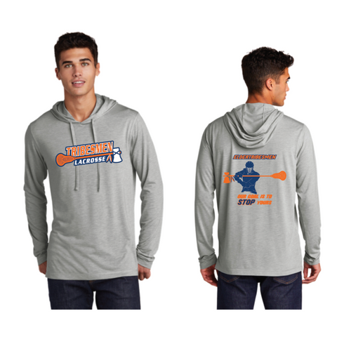 Tribesmen Lacrosse Adult Sport-Tek ( PosiCharge ® Tri-Blend Wicking Long Sleeve Hoodie) - Grey