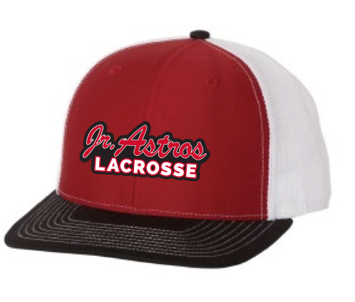 Jr. Astros Lacrosse Richardson (Mesh Back Adjustable Caps) Black/Red/White