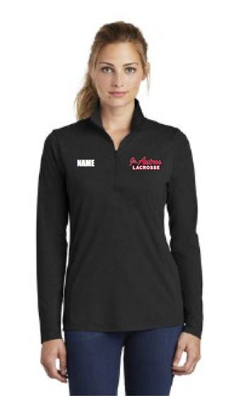 Jr. Astros  Lacrosse Women's Sport-Tek (PosiCharge Tri-Blend Wicking 1/4-Zip Pullover) Black
