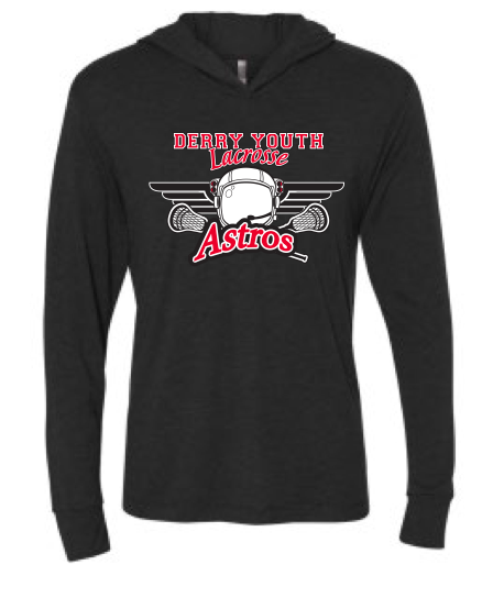 Derry Astros Lacrosse UNISEX Next Level (Triblend Hooded Tee) Heather Black