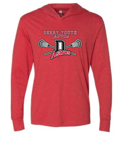 Derry Astros Lacrosse UNISEX Next Level (Triblend Hooded Tee) Red