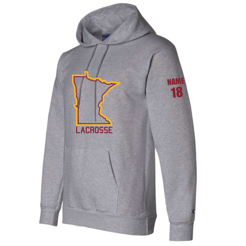 ** Recommended** U of M Lacrosse Champion (Reverse Weave Hooded Pullover Sweatshirt) Gray