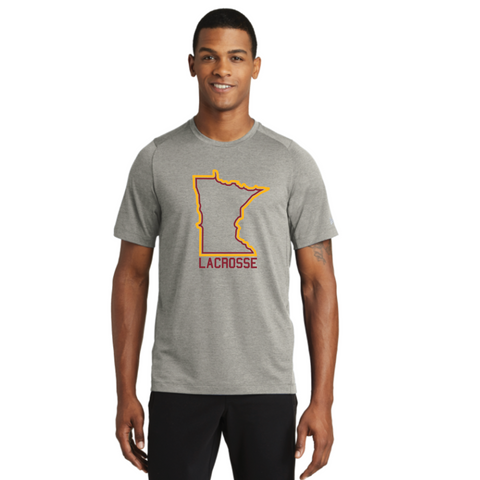 ** Recommended** U of M Lacrosse Adult New Era (Series Performance Crew Tee) Silver