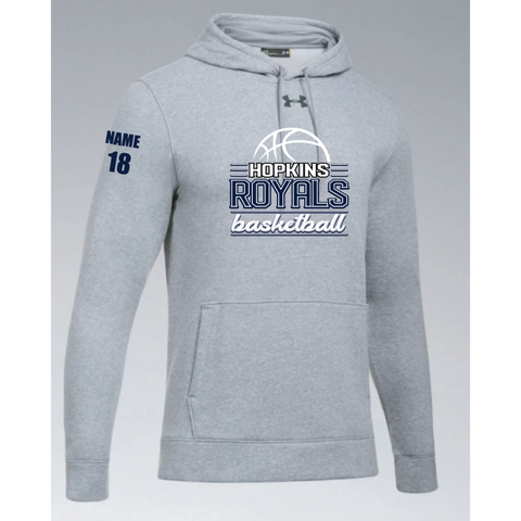 Hopkins Basketball Men's UA (Hustle Fleece Hoody) True Gray Heather