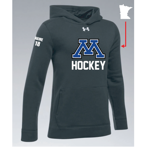 Minnetonka Hockey Youth UA (Hustle Fleece Hoody) Black