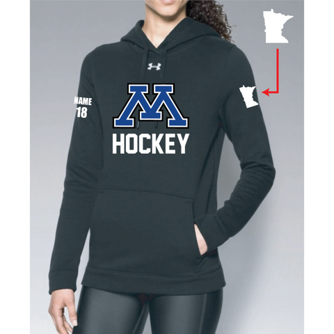 Minnetonka Hockey Women's UA (Hustle Fleece Hoody) Black