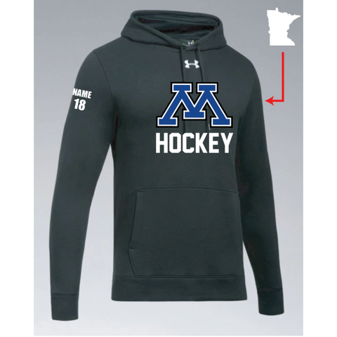 Minnetonka Hockey Men's UA (Hustle Fleece Hoody) Black
