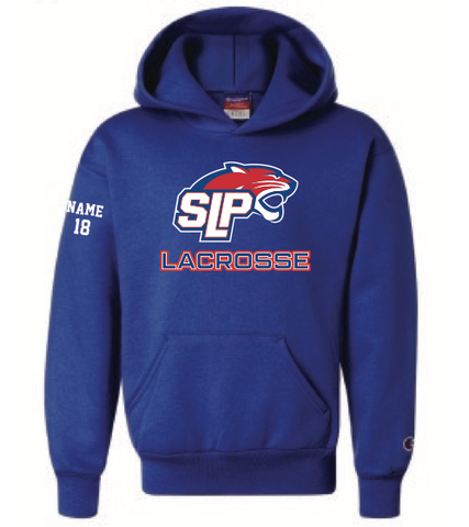 Spring Lake Park Lacrosse Youth Champion (Double Dry Eco Hoodie) Royal