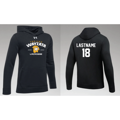 Wayzata Lacrosse Youth UA (Hustle Fleece Hoody) Black