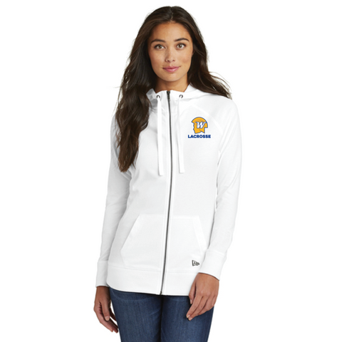 Wayzata Lacrosse Women's New Era (Sueded Cotton Full-Zip Hoodie) White