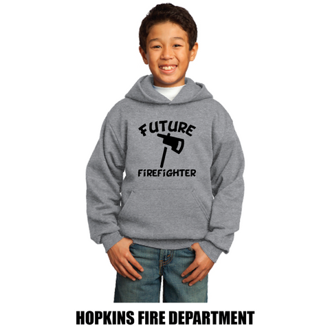 Hopkins Fire Dept. Youth Port & Company (Core Fleece Pullover Hooded Sweatshirt) Gray