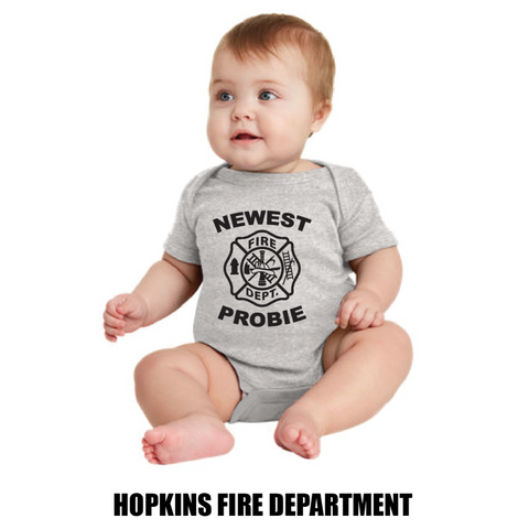 Hopkins Fire Dept. Rabbit Skins (Infant Short Sleeve Baby Rib Bodysuit) Gray