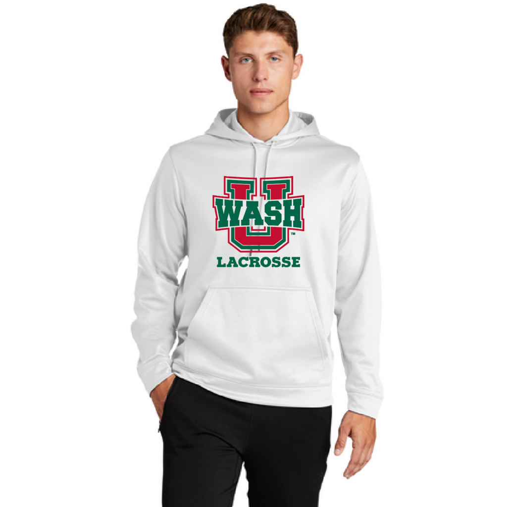 Wash U Lacrosse SportTek Fleece Hoodie - White