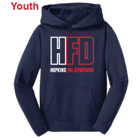 Hopkins Fire Youth Sport-Tek (Sport-Wick® Fleece Hooded Pullover) Navy