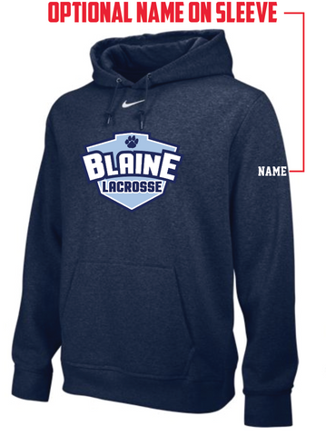 Blaine Lacrosse Men's NIKE (TEAM CLUB FLEECE HOODY) Navy