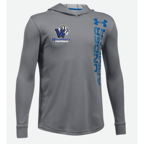 Woodbury Football Youth UA (Textured Tech Hoody) Gray/Royal