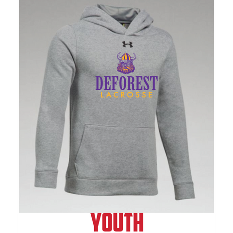 DeForest Lacrosse Youth Under Armour (Hustle Fleece Hoody) Gray