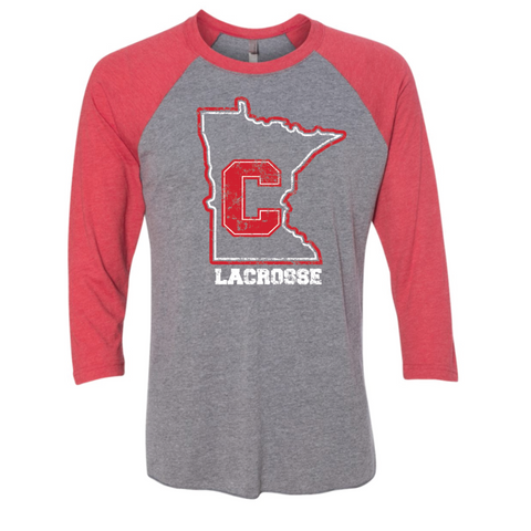 Centennial Lacrosse Unisex Next Level (3/4 Raglan Tee) Red/Gray