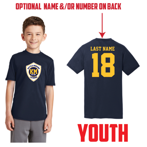 KM Lacrosse Youth Port & Company (Performance Blend Tee) Navy