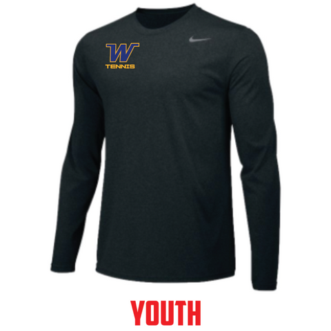 Wayzata Tennis YOUTH Nike (TEAM LEGEND LS CREW) Black